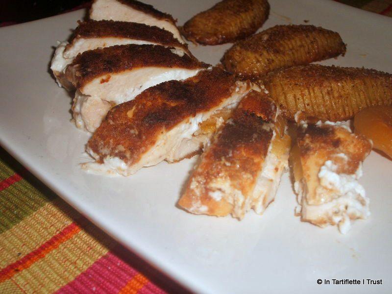 poulet pané pain epices chevre abricot
