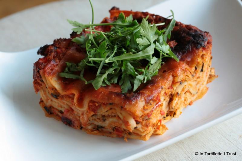 Lasagnes aux courgettes, poivrons & tomates