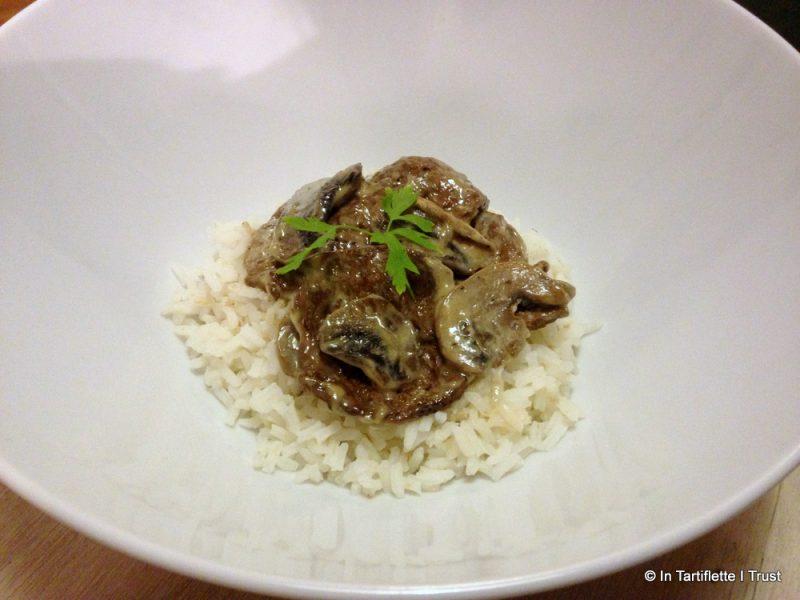 Emincés de soja aux champignons à la crème