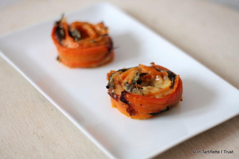 Roses de carottes aux épinards & comté