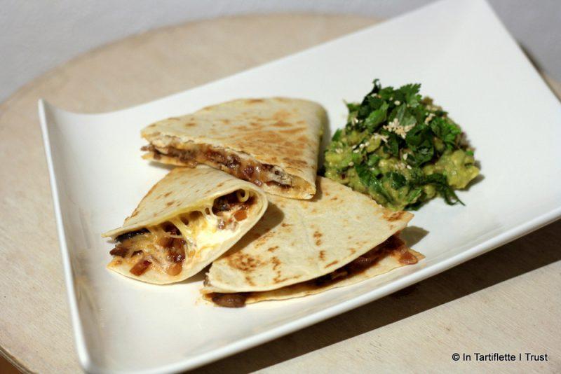 Quesadillas aux champignons & tomates, guacamole