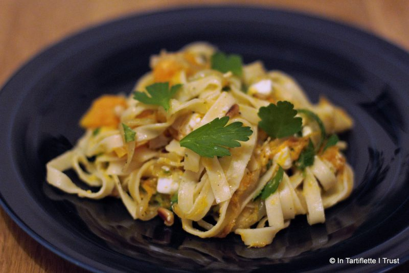 Tagliatelles courge butternut rôtie, feta & persil