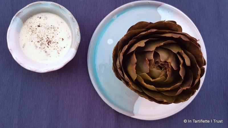 Artichaut à la crème de bleu du Vercors