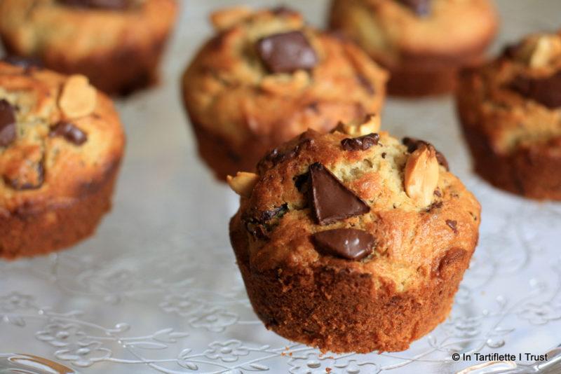 Muffins à la banane, beurre de cacahuète chocolat
