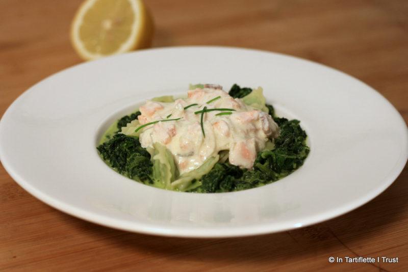 Ravioles aux épinards et crème au saumon fumé