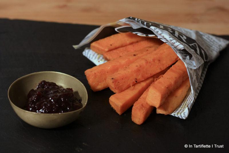 Frites de patates douces, ketchup de cerises