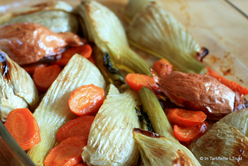 Fenouil, carottes échalotes rôties