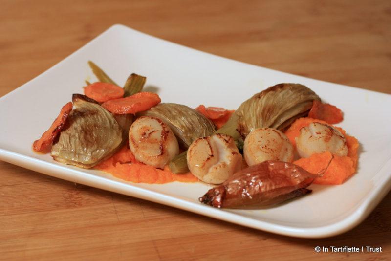 Noix de Saint-Jacques fumées, légumes rôtis purée de carotte