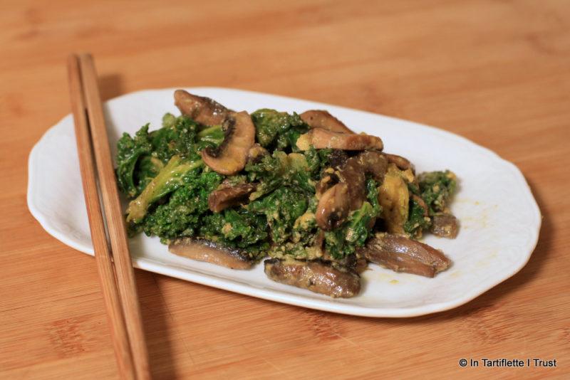 Chou kale champignons à la carbonara