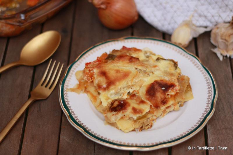 Lasagnes aux légumes gratinées à la crème et au cantal