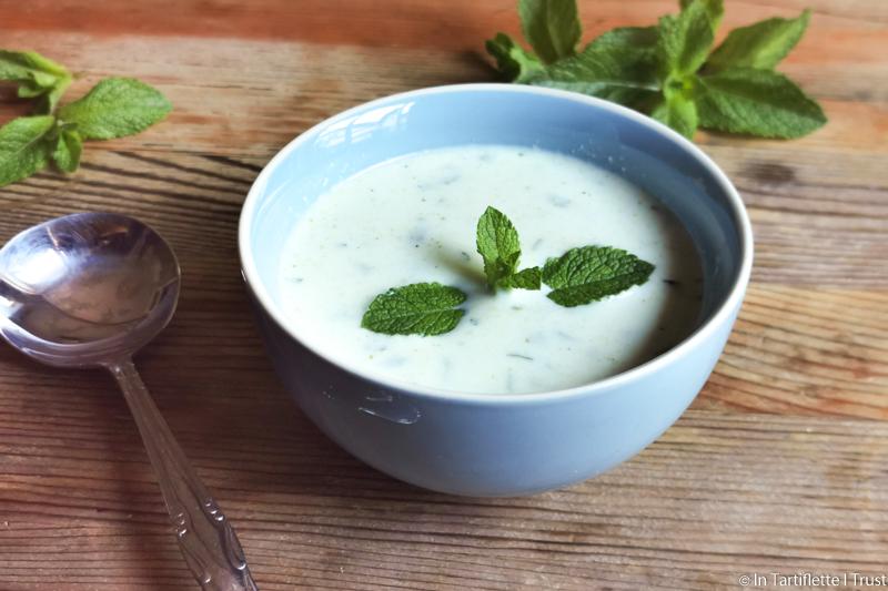 soupe concombre chevre menthe