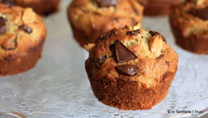 muffin beurre cacahuètes banane chocolat
